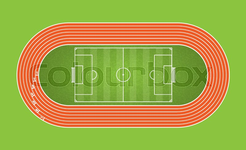 800x488 Running Track And Football Arena, Top View Of Sport Stadium