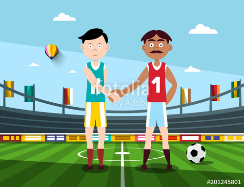 500x384 Soccer Players Holding Hands On Football Stadium. Vector