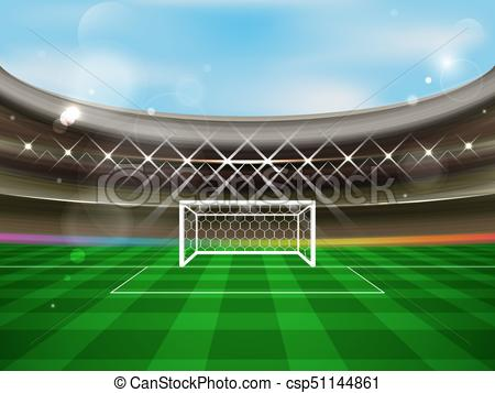 450x357 Soccer Stadium Vector Banner. Football Arena With Spotlights