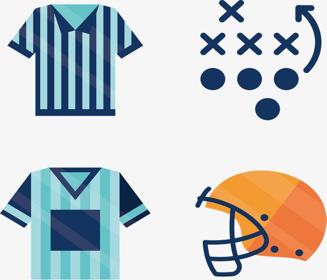 650x556 Blue Striped Football Uniforms, Football Clipart, Vector Material