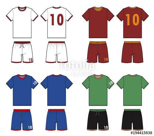 500x442 Football Soccer Uniform Vector Illustration Flat Sketches Template