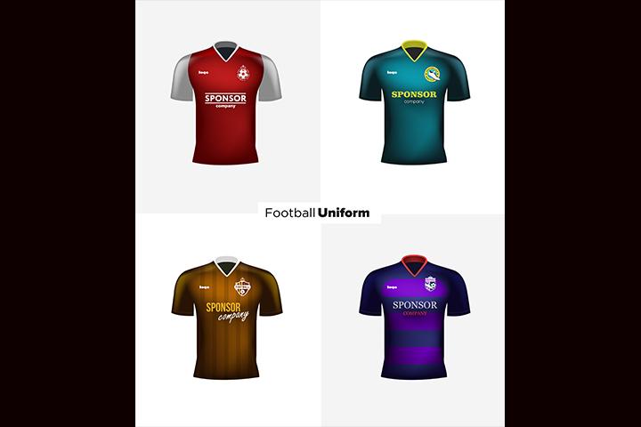 720x480 Realistic Vector Football Uniforms. Branding Mockup. Soccer Team