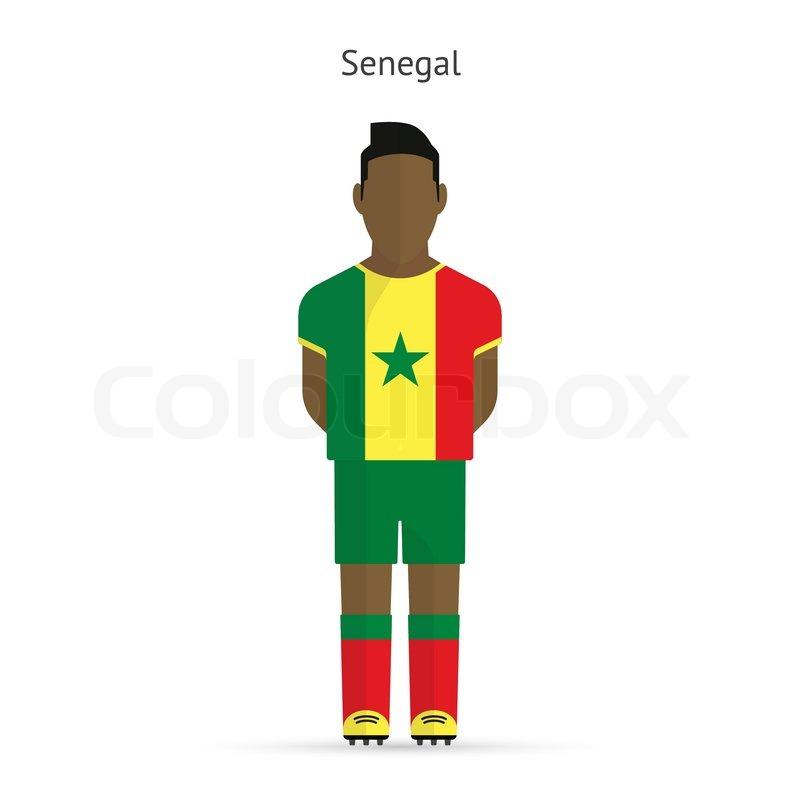 800x800 Senegal Football Player. Soccer Uniform. Vector Illustration