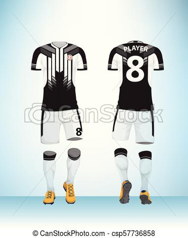 372x470 Uniform Football Black And White Vector. Soccer Jersey Or Football