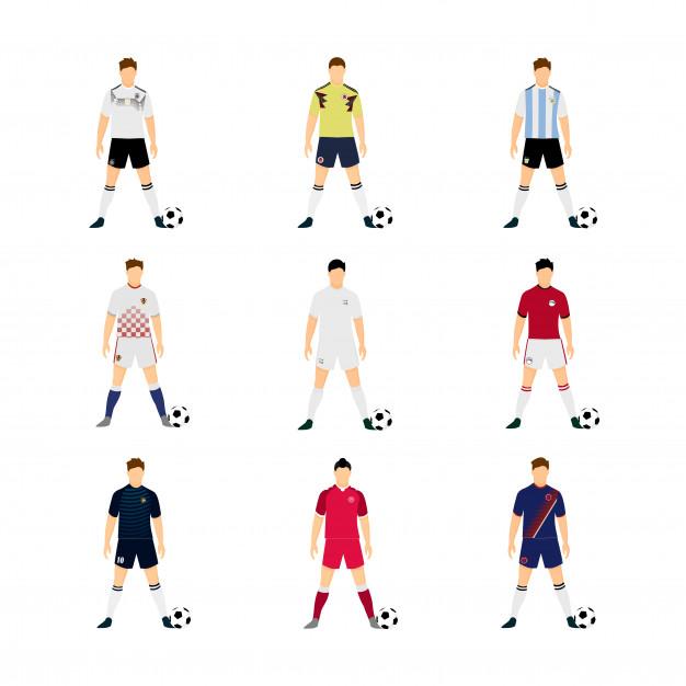 626x626 Various Football Uniform National Team Illustration Set Vector