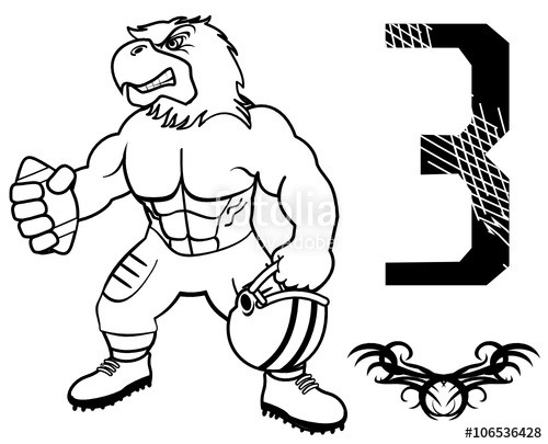 500x405 Muscle Eagle American Football Uniform In Vector Format Stock