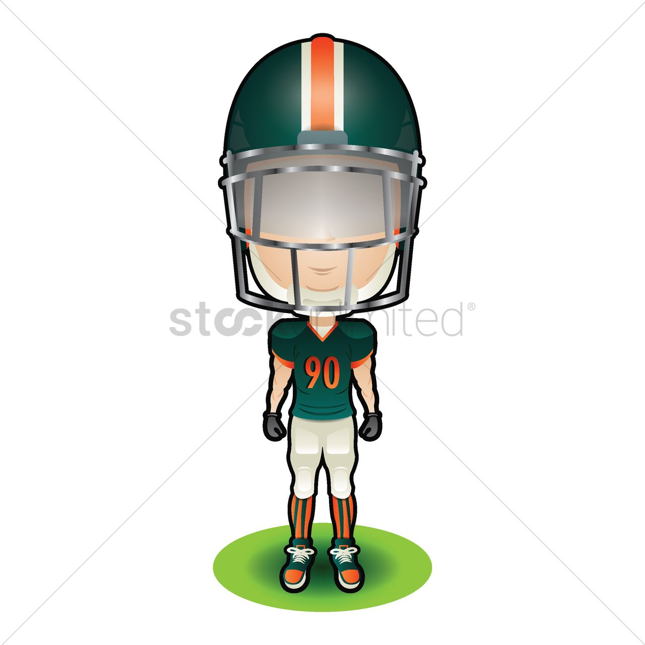 1300x1300 American Football Player In Green Uniform Vector Image