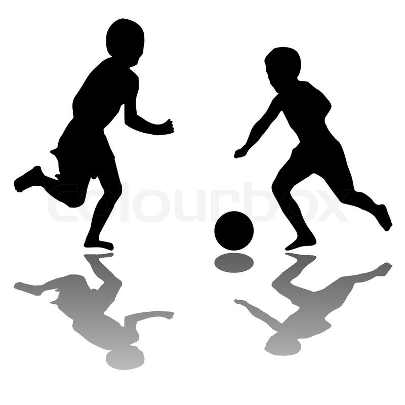 800x800 Kids Black Silhouettes Playing Soccer Isolated On White Background