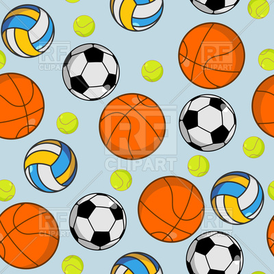 400x400 Sports Background With Basketball, Tennis And Football Ball Vector