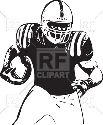 329x400 American Football Player Illustration Running With Ball Vector