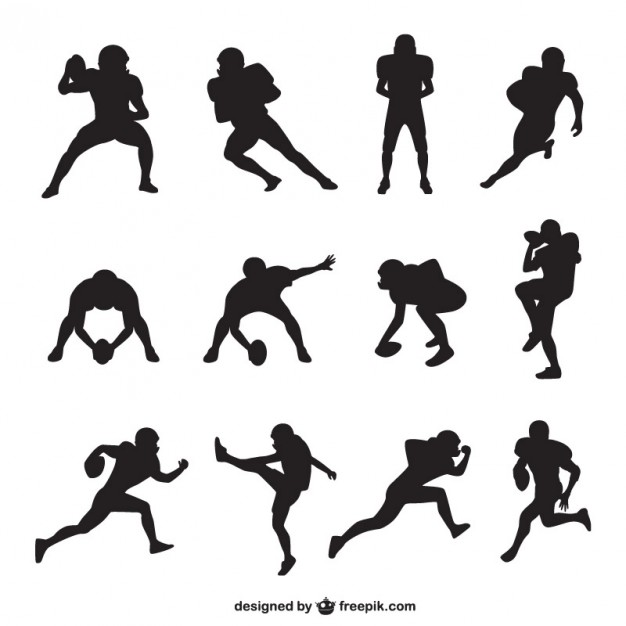 626x626 American Football Player Silhouettes Collection Vector Free Download