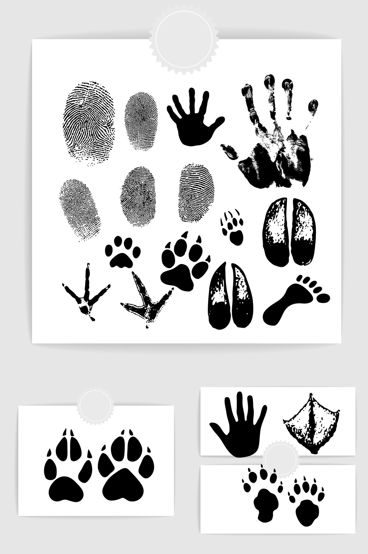 1024x1540 Character Handprint Fingerprint Animal Footprints Vector Material