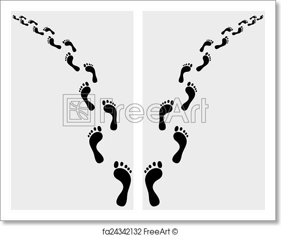 560x470 Free Art Print Of Human Footsteps. Trail Of Human Bare Footsteps