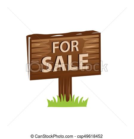 450x470 For Sale Sign. Wooden Sign For Sale, Icon Design, Isolated On