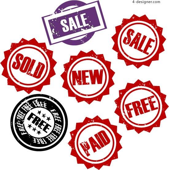 550x555 4 Designer Retro Sale Sign Vector Material