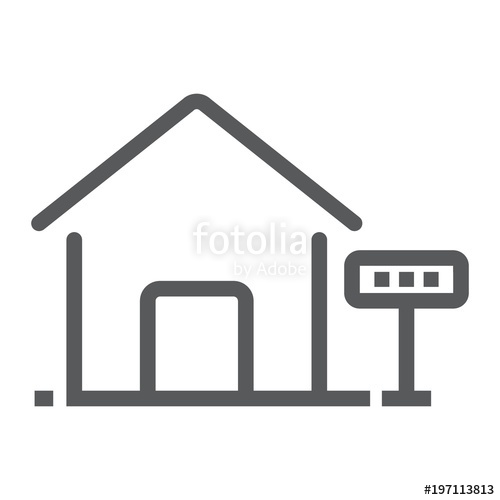 500x500 Home For Rent Line Icon, Real Estate And Home, Sale Sign Vector