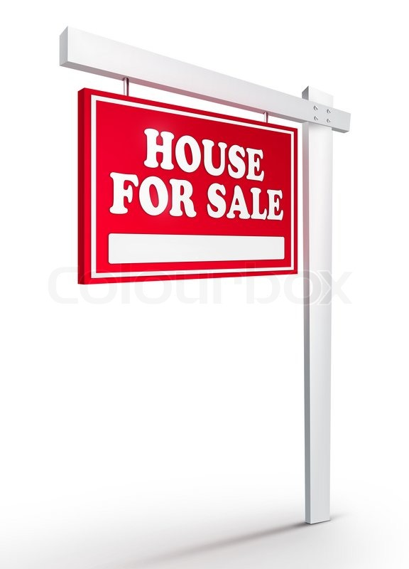 576x800 Real Estate Sign House For Sale On White Background. 2d Artwork
