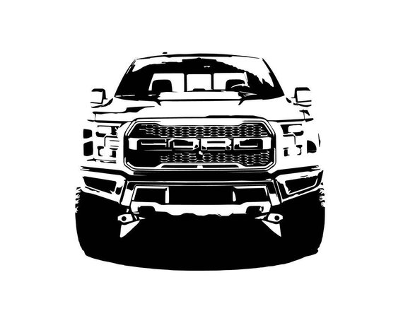 570x440 Ford F150 Raptor Front Bampw Line Drawing Vector Vectorized Etsy