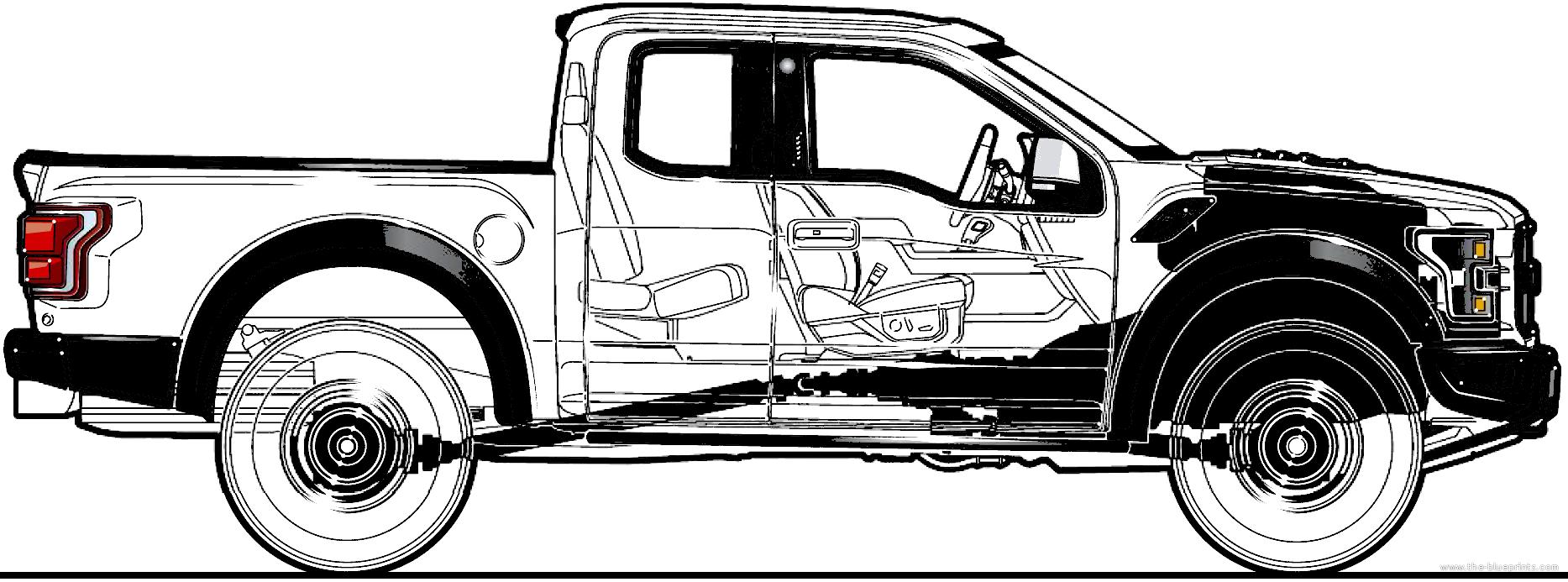 1867x693 Blueprints Gt Cars Gt Ford Gt Ford F 150 Raptor 4x4 Supercab (2017)
