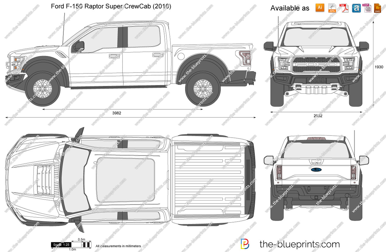 1280x835 Ford F 150 Raptor Super Crewcab Vector Drawing