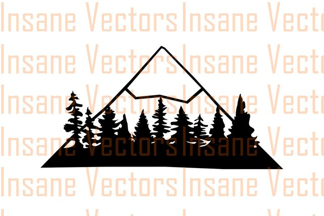 642x428 Mountain Forest Vector Silhouette Clip Art Image Mountain Etsy