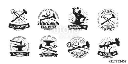 500x251 Forge, Blacksmith Logo Or Label. Blacksmithing Set Of Icons Stock