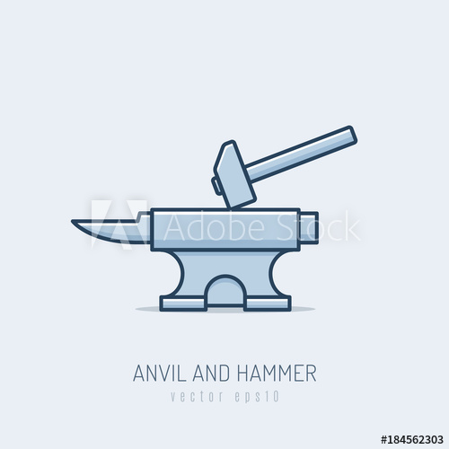 500x500 Forge Anvil With Hammer Vector Illustration In Monoline Style