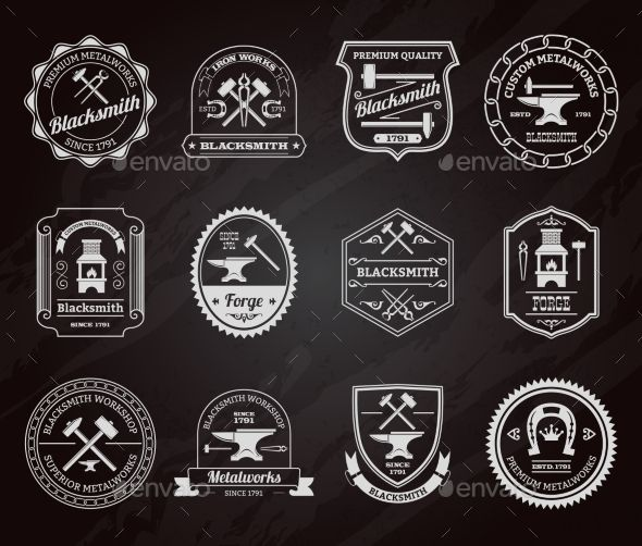 590x502 Blacksmith Label Chalkboard (Vector Eps, Cs, Anvil, Armor, Badge
