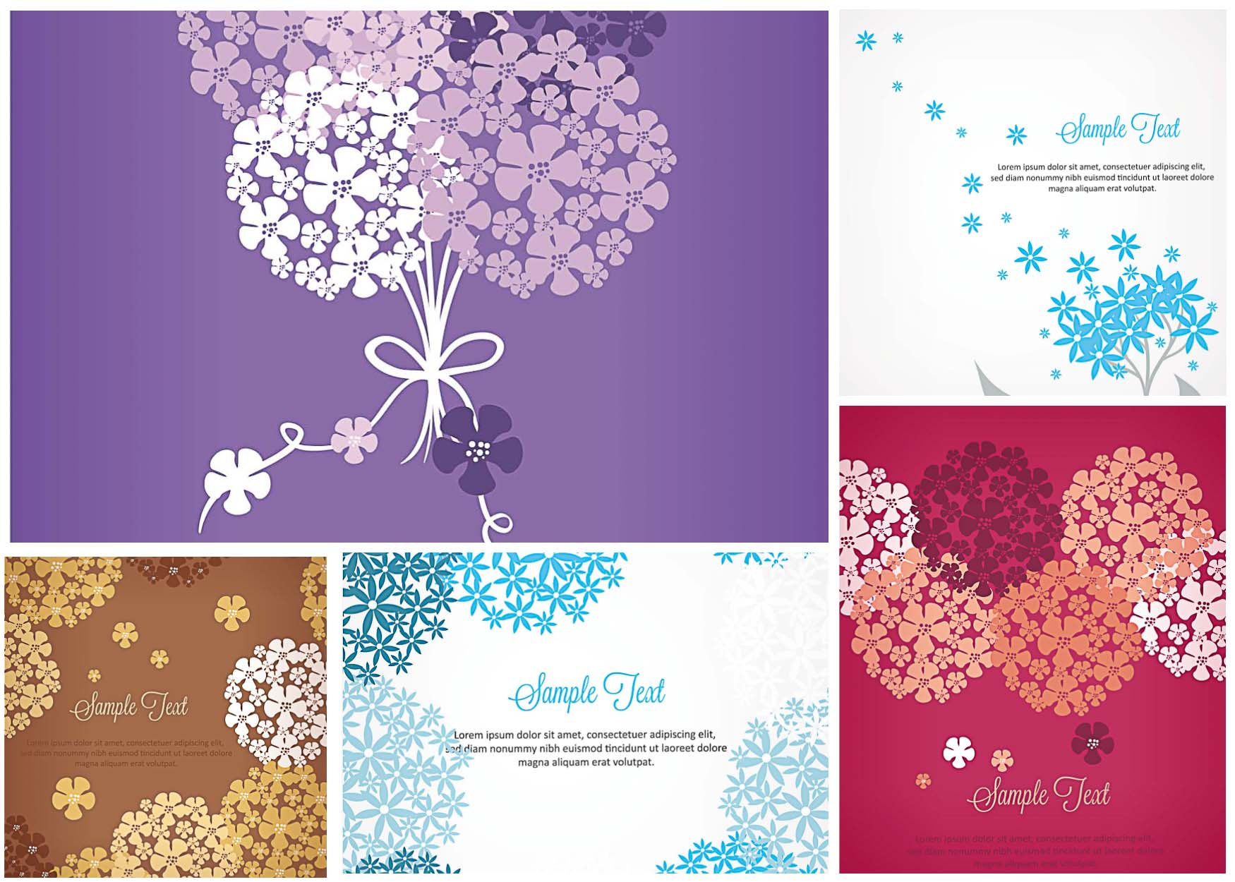 1750x1250 Forget Me Not Flower Card Set Vector Free Download