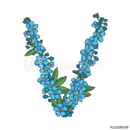 500x500 Forget Me Not Vector Alphabet