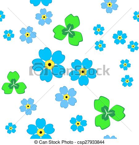 450x470 Pattern With Blue Forget Me Not Flowers And Green Leaves.