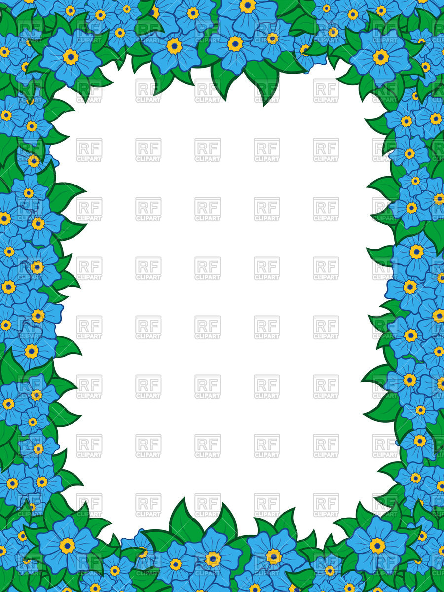 900x1200 Square Frame With Blue Flowers Forget Me Not Vector Image Vector