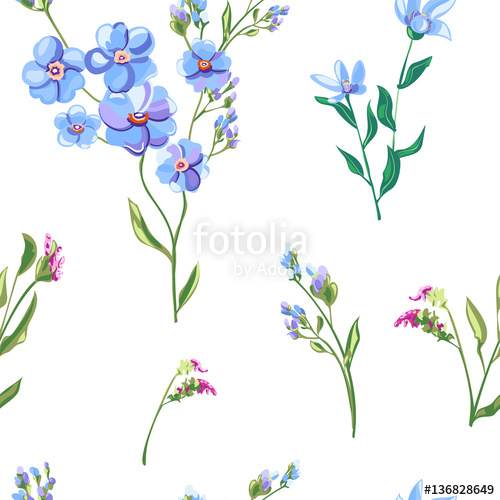 500x500 Vector Floral Seamless Pattern With Blue Flowers And Buds, Forget