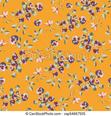 450x470 Vintage Seamless Pattern Design With Little Forget Me Not