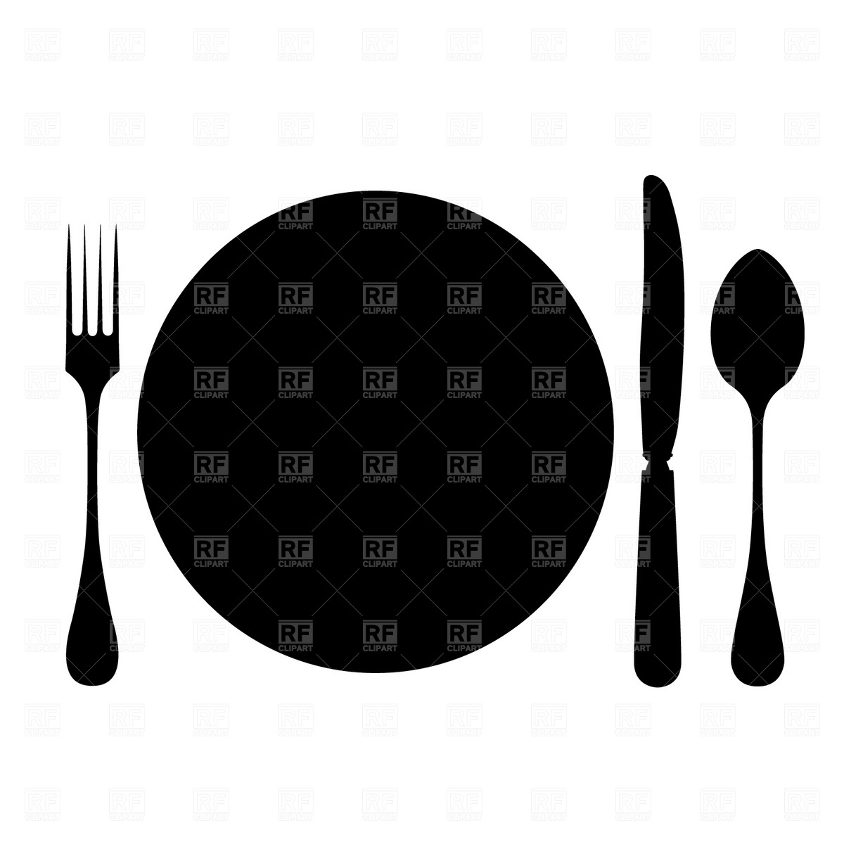 1200x1200 Plate, Fork, Spoon And Knife Free Vector Image Vector Artwork Of