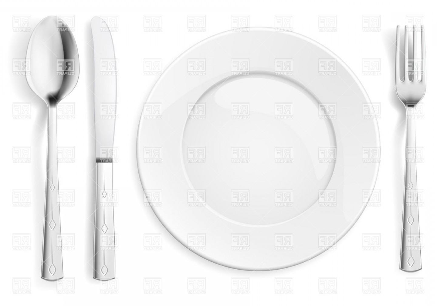 1440x1008 Table Appointments With Plate Fork Spoon And Knife Vector Clipart