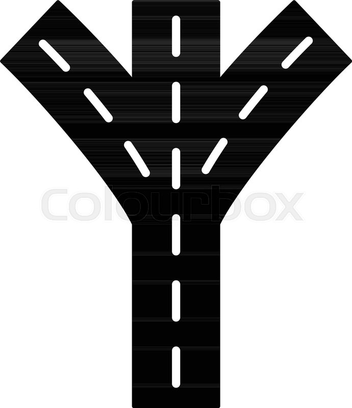 690x800 Road Forkicon. Simple Illustration Of Road Fork Vector Icon For