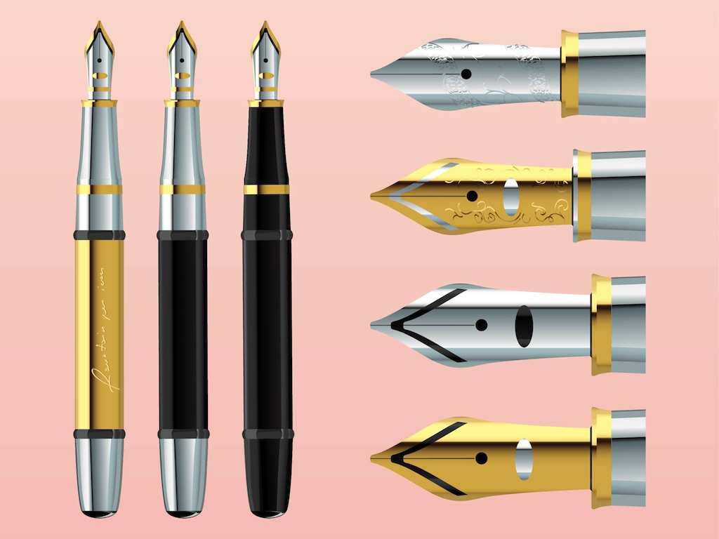 1024x768 Luxurious Pens Vector Art Amp Graphics