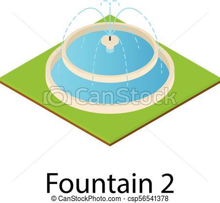 450x416 Fountain Icon, Isometric Style. Fountain Icon. Isometric