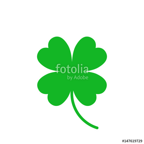 500x500 Four Leaf Clover Vector Icon. Clover Silhouette Simple Icon