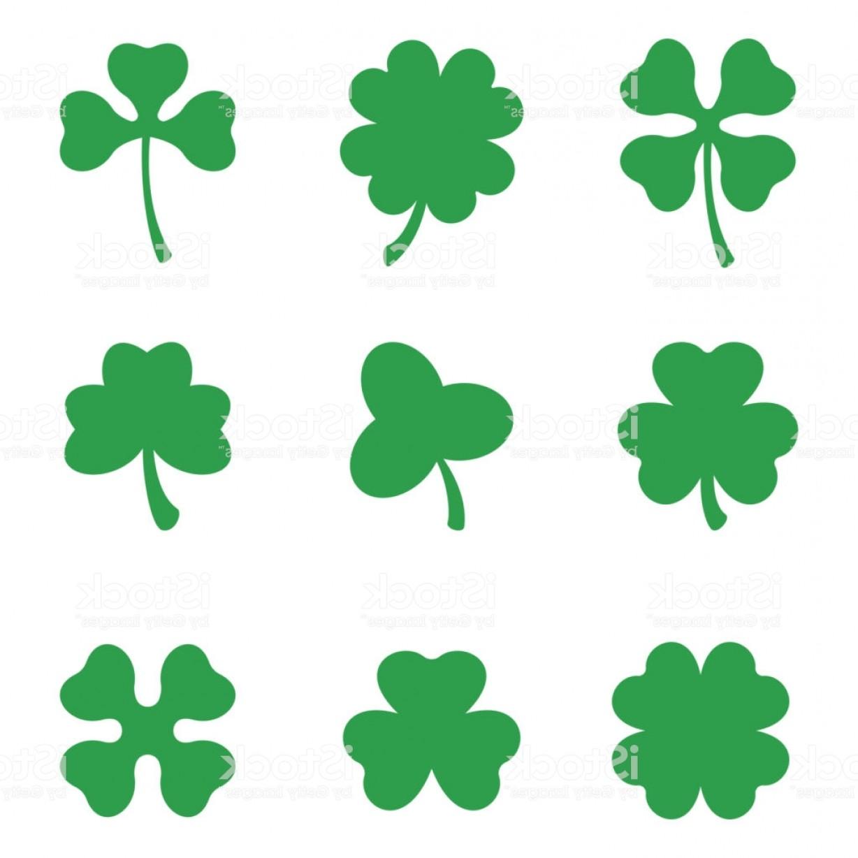 1228x1228 Set Of Three And Four Leaf Clovers Vector Icon St Patricks Day