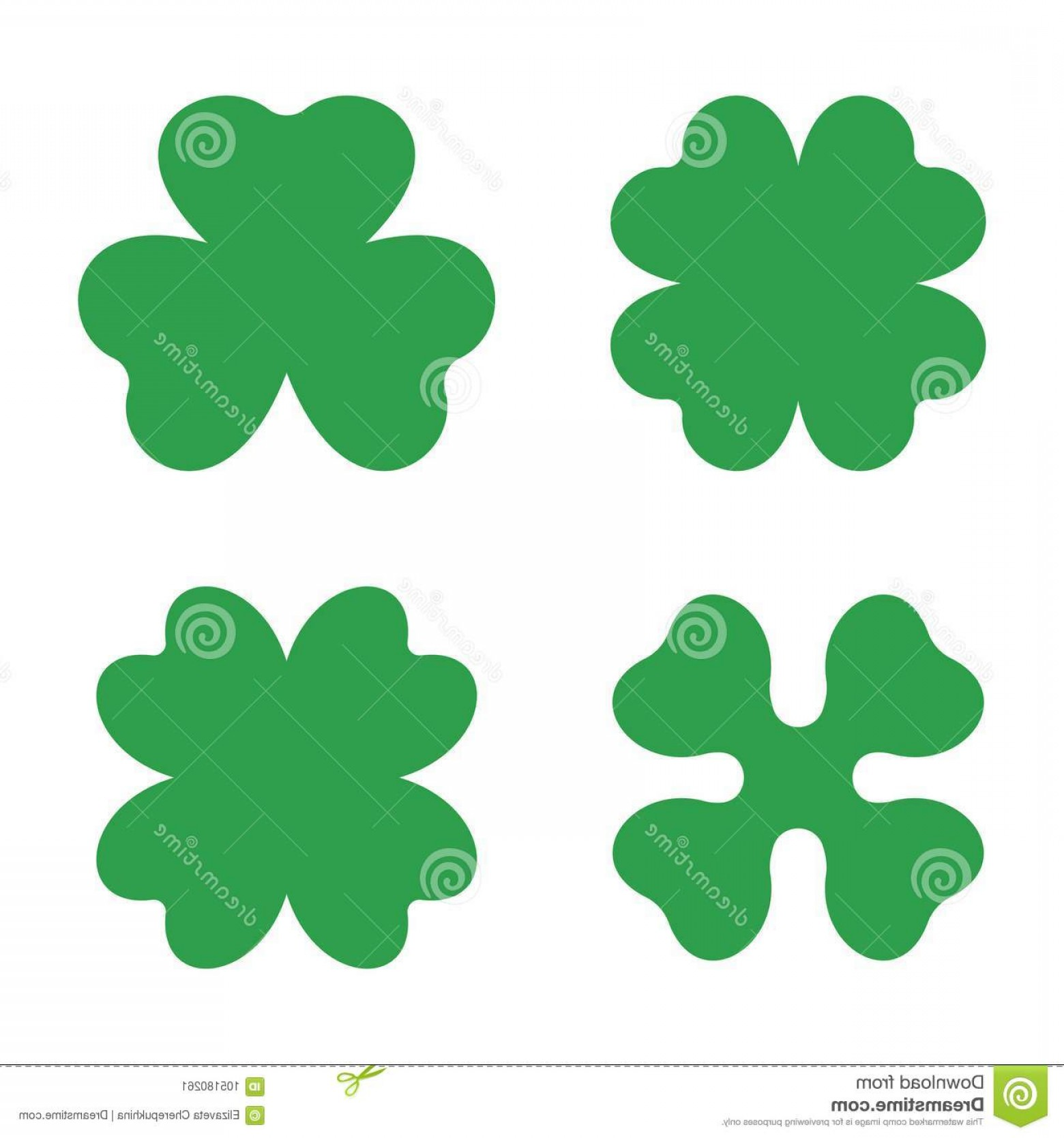 1560x1668 Set Three Four Leaf Clovers Vector Icon Symbol Good Luck St