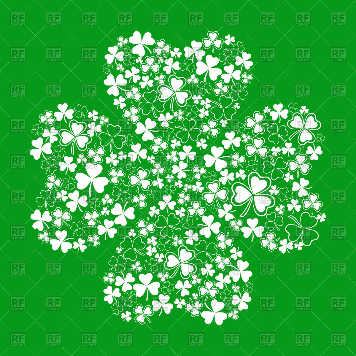 1200x1200 Four Leaf Clover Made Of Small Leaves Of Shamrock Vector Image