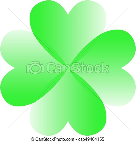 450x470 Green Four Leaf Clover. Vector Green Four Leaf Clover From Hearts.