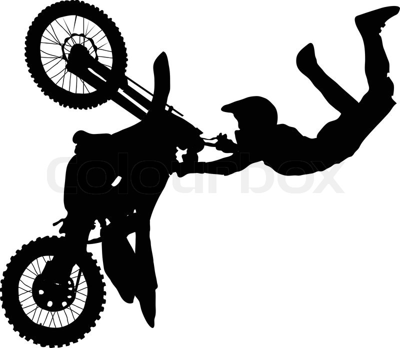 800x696 Silhouette Of Motorcycle Rider Performing Trick Stock Vector