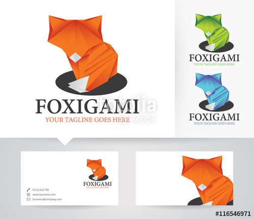 500x432 Fox Origami Vector Logo With Alternative Colors And Business Card
