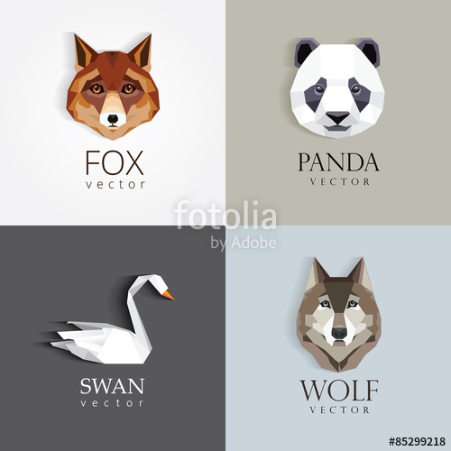 500x500 Trendy Low Polygon Style Animal Logos For Business Visual Identity