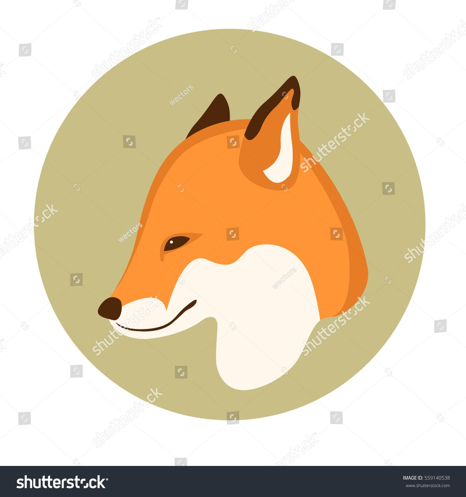 1500x1600 Fox Head Vector Illustration Style Flat Patch Aplique