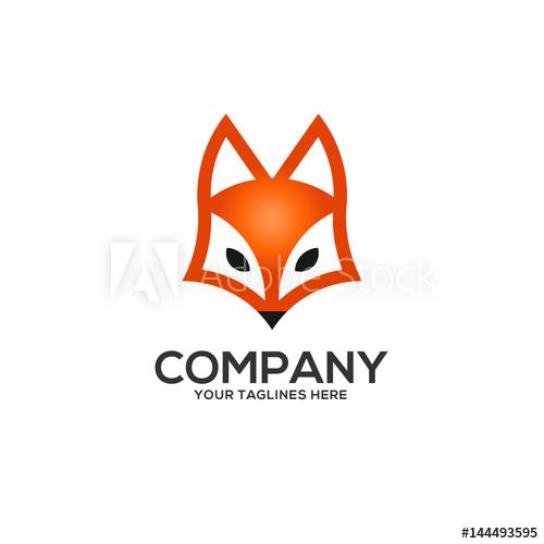 500x500 Fox Head Logo Vector, Flat Vector Fox Logo Isolated On White