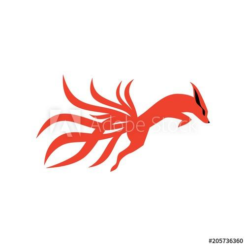 500x500 Nine Tails Fox Logo Vector Icon Illustration